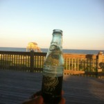 View from our deck of an ice-cold Dr Pepper. Oh, and the ocean.